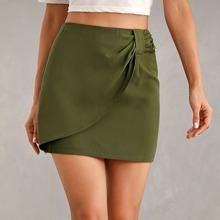 Zip Back Solid Wrap Skirt