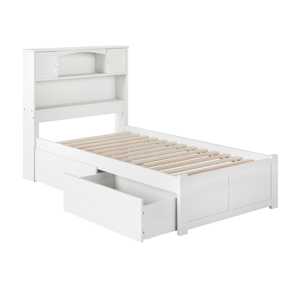 Newport Twin XL Platform Bed with Flat Panel Foot Board and 2 Urban Bed Drawers in White (Twin XL - White)