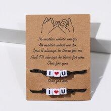 2pcs I Love You Rope Bracelet