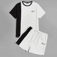 Men Letter Graphic Two Tone Top & Track Shorts Set