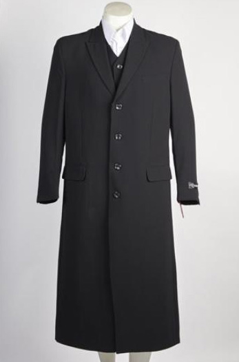 Mens 4 Button Single Breasted Suit Black