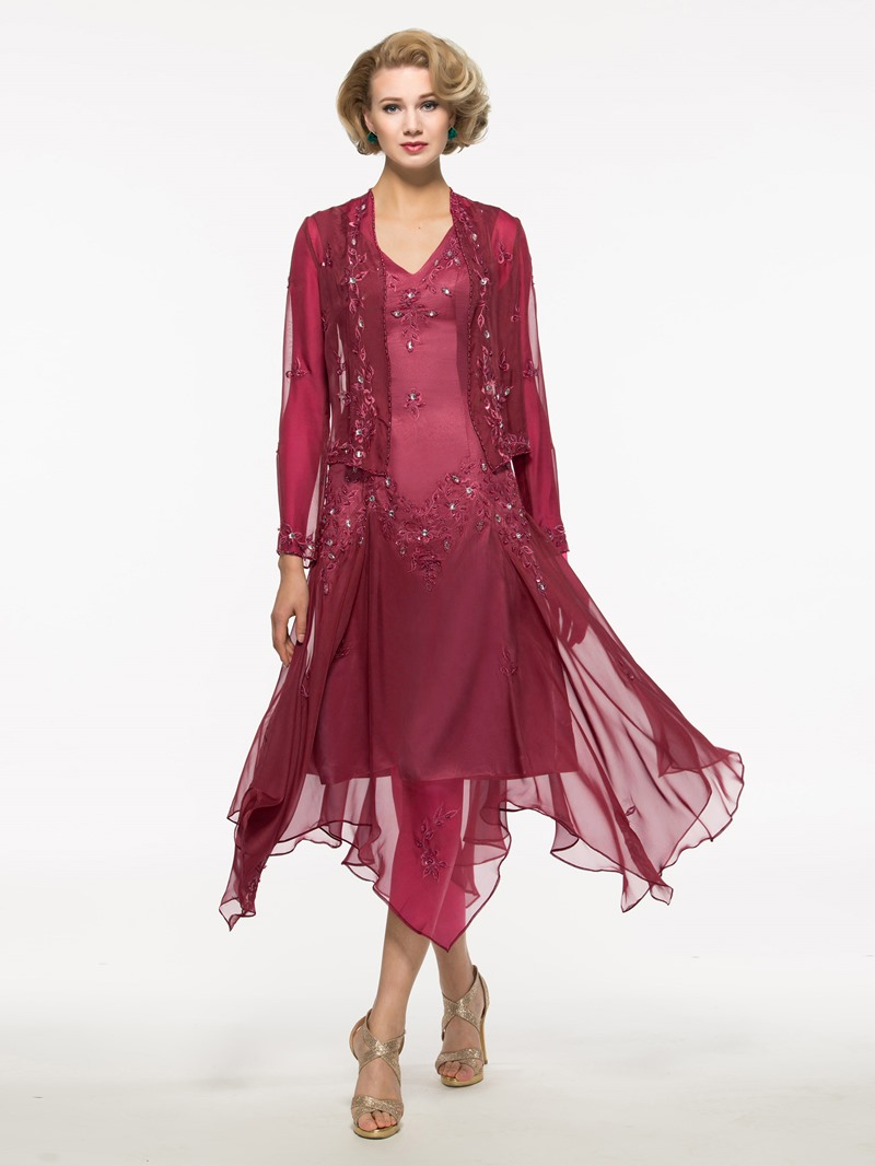 Ericdress Embroidery Sequins Asymmetry Mother of the Bride Dress