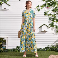 Hemdkleid mit Obst Muster, Knopfen vorn und Guertel