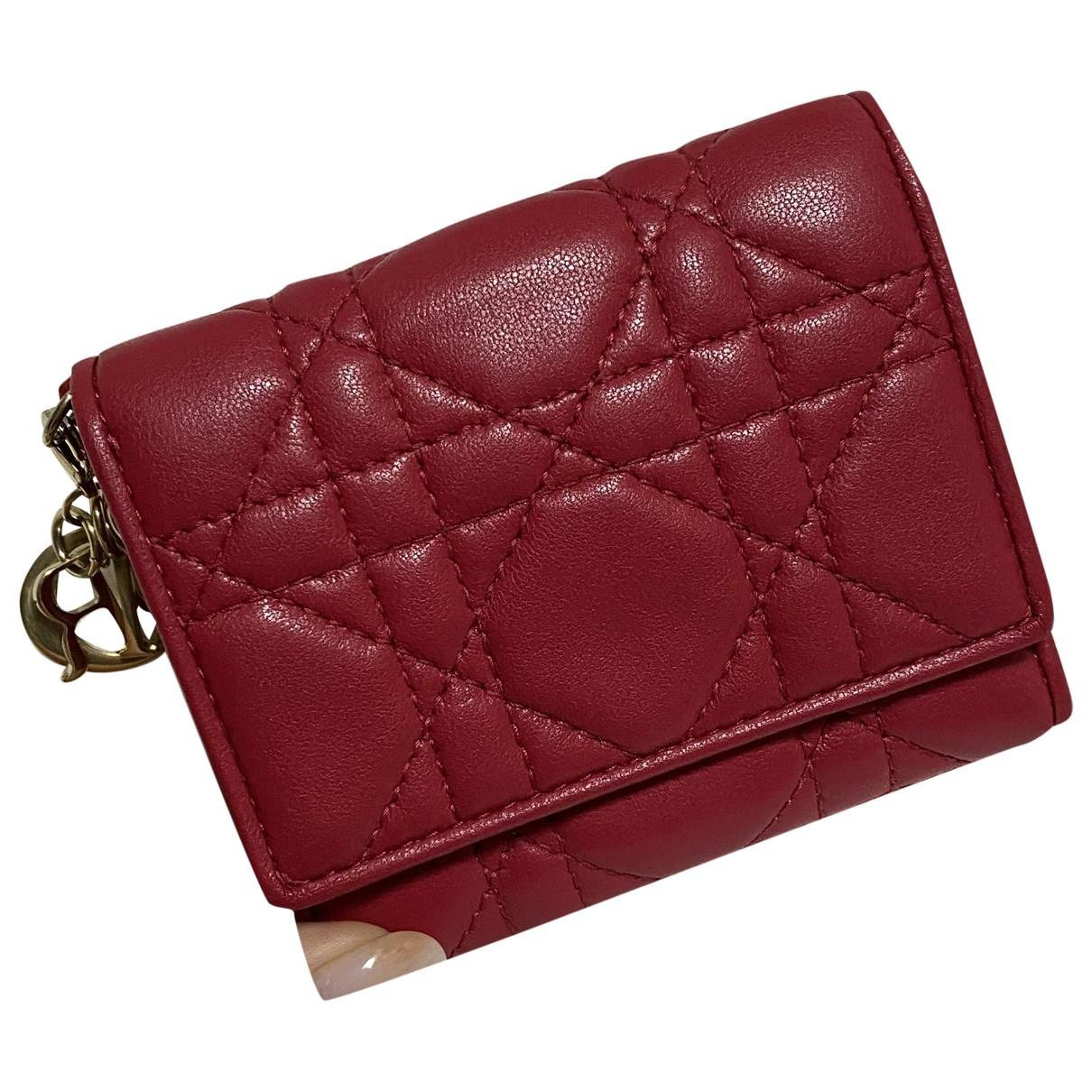 Dior - Portefeuille Lady Dior pour femme en cuir - rouge