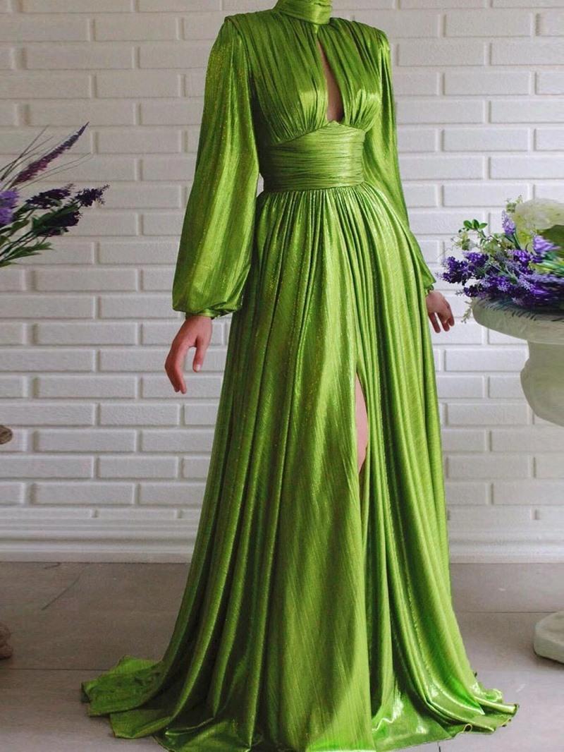 Ericdress Floor-Length Hollow Stand Collar Pullover Lantern Sleeve Dress