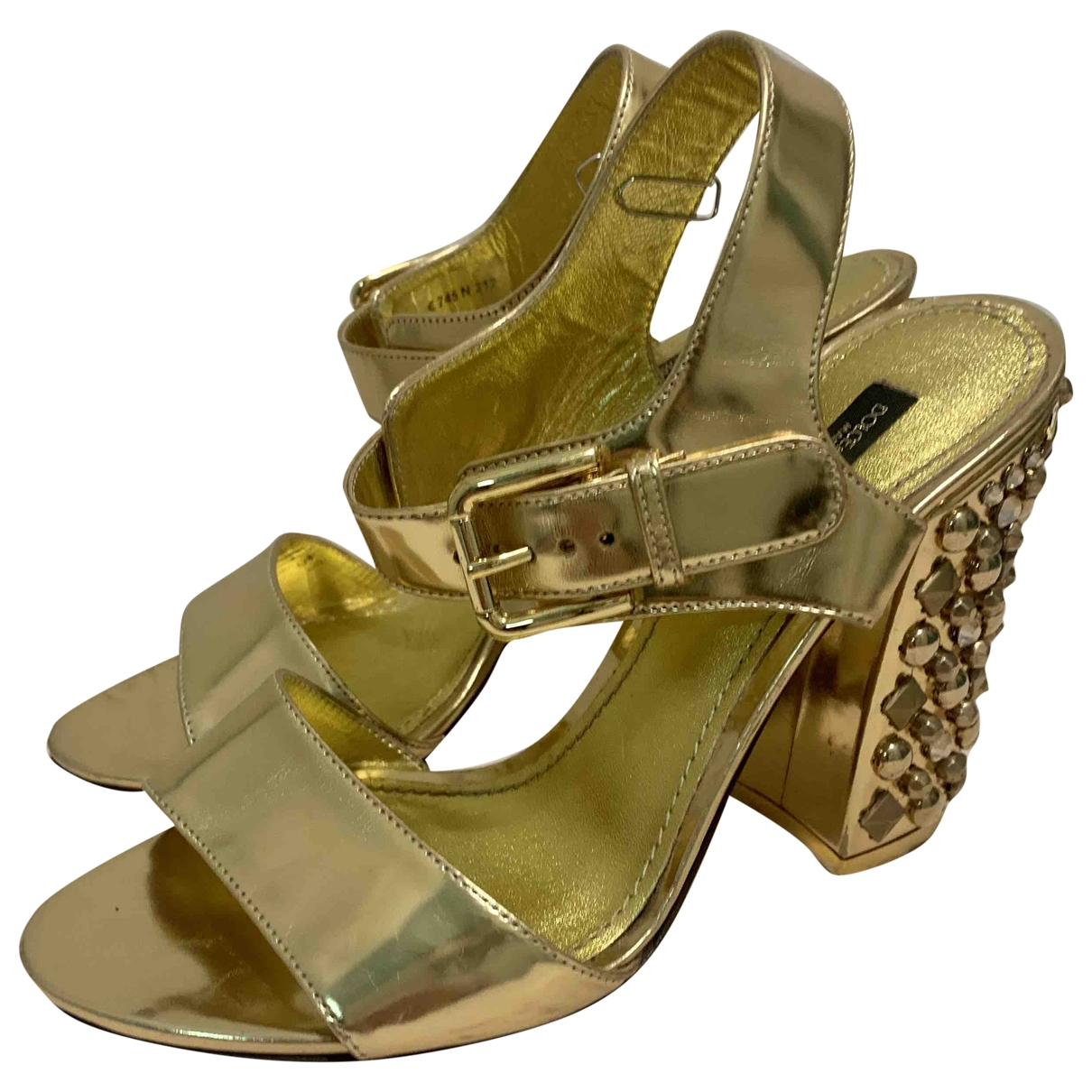 Dolce & Gabbana \N Gold Leather Sandals for Women 37 EU