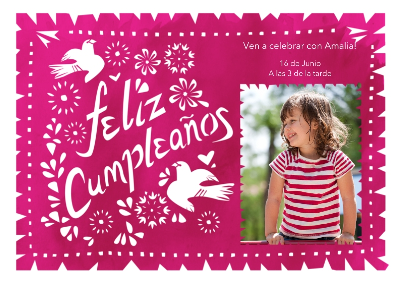 Birthday Party Invites 5x7 Cards, Premium Cardstock 120lb with Scalloped Corners, Card & Stationery -Feliz Cumpleanos Pink