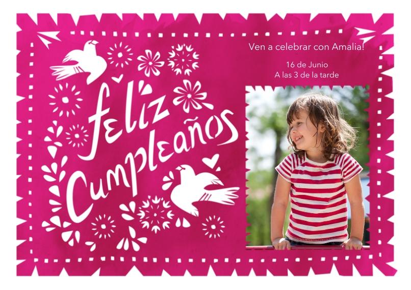 Birthday Party Invites 5x7 Cards, Premium Cardstock 120lb, Card & Stationery -Feliz Cumpleanos Pink