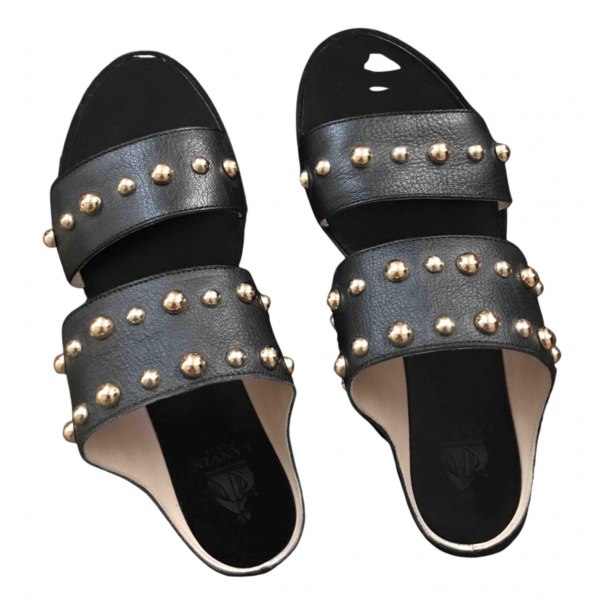 Lanvin \N Black Leather Sandals for Women 38.5 EU