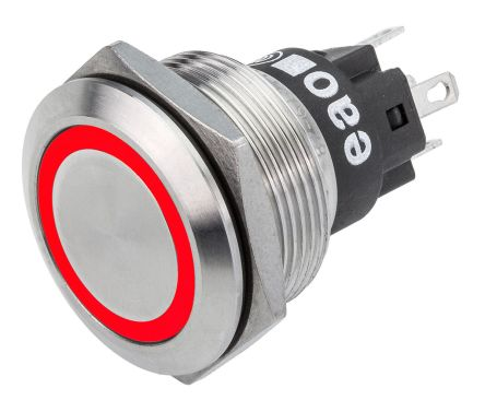 EAO Momentary Red LED Push Button Switch, IP65, IP67, Panel Mount, 24V dc