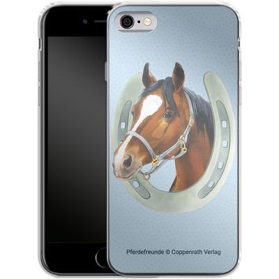Apple iPhone 6 Silikon Handyhuelle - Pferdefreunde Hufeisen Blau von Pferdefreunde