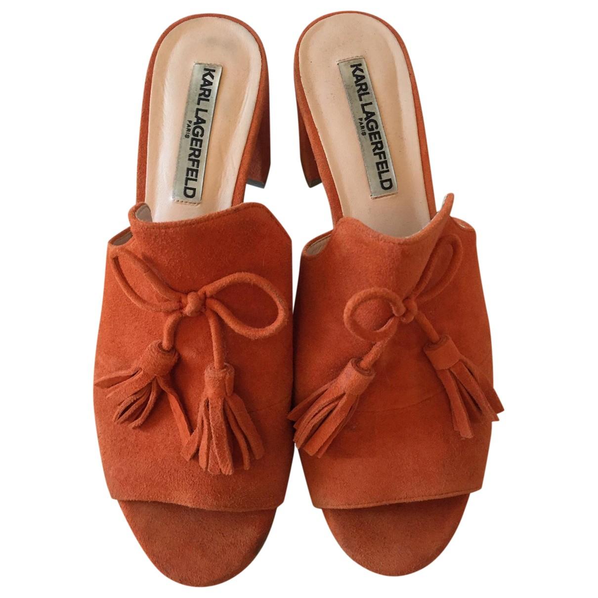 Karl Lagerfeld \N Sandalen in  Orange Veloursleder