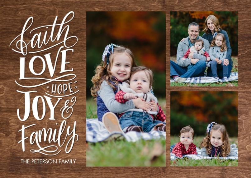 Christmas Photo Cards 5x7 Cards, Premium Cardstock 120lb, Card & Stationery -Christmas Faith Love Hope by Tumbalina