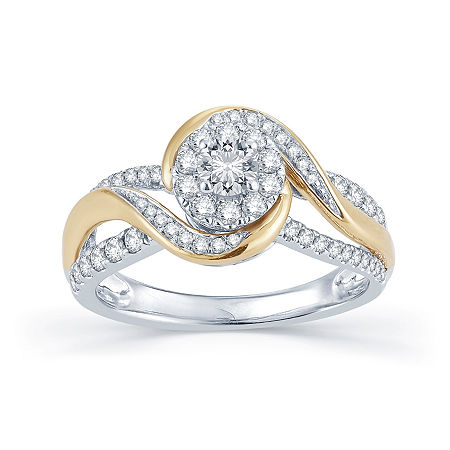 3/4 CT. T.W. Diamond 14K Two-Tone Gold Engagement Ring, 6 , No Color Family