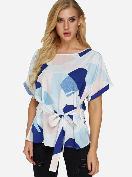 Yoins Self-tie Design Random Geometrical Pattern Round Neck Short Sleeves Blouse