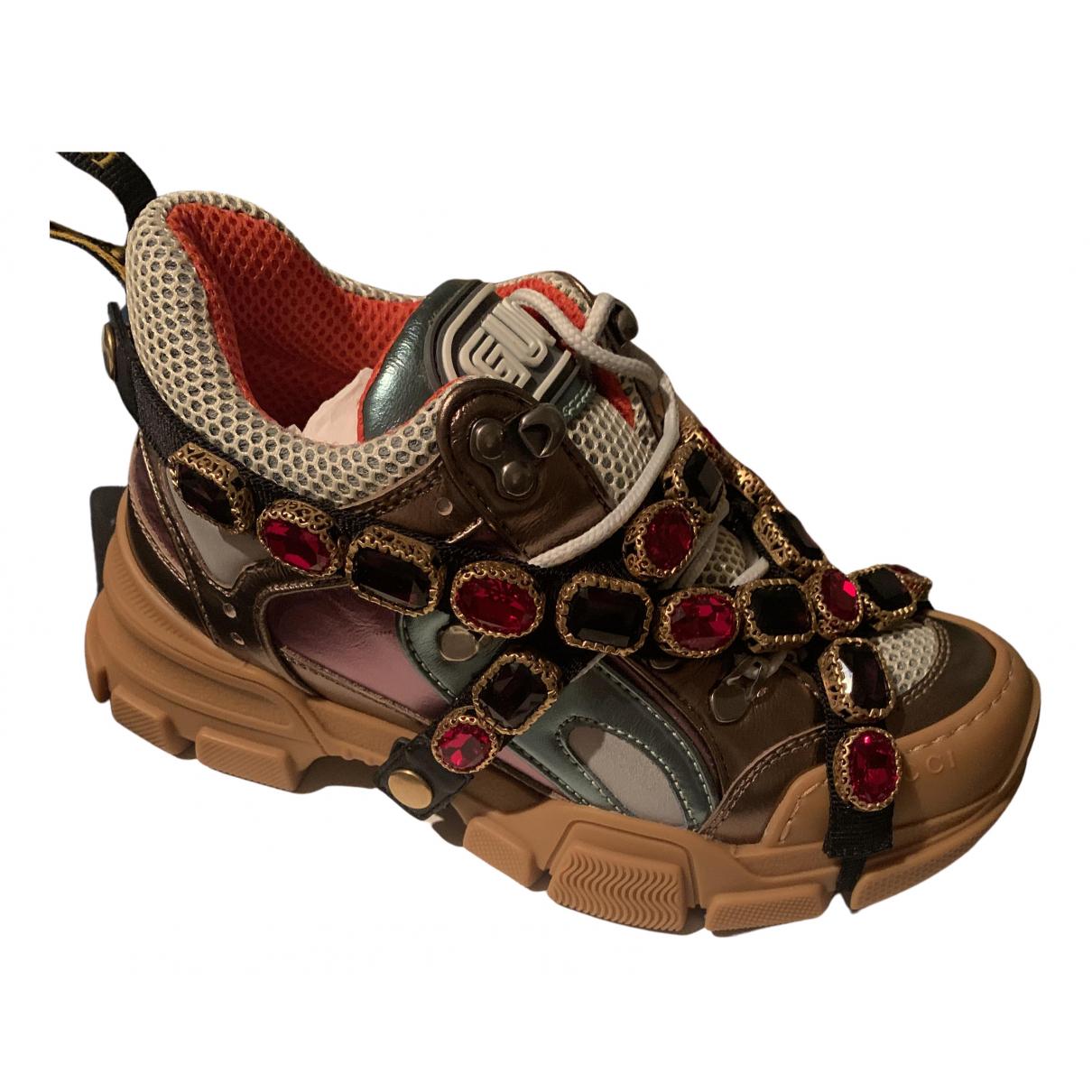 Gucci - Baskets Flashtrek pour femme en cuir - kaki