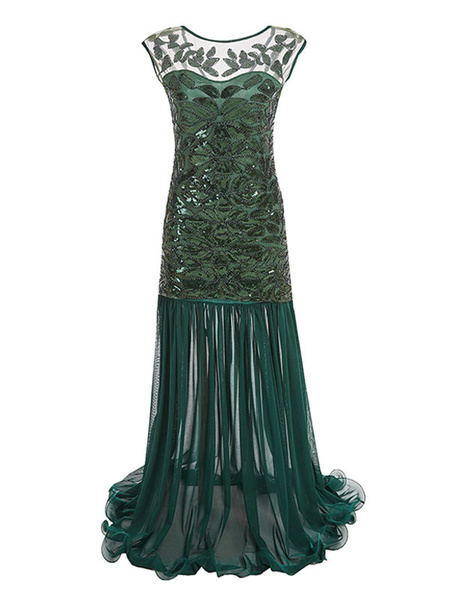 Milanoo Flapper Dress 1920s Fashion Style Great Gatsby Vintage Costume Women Sequined Maxi Dress Party Dress Halloween