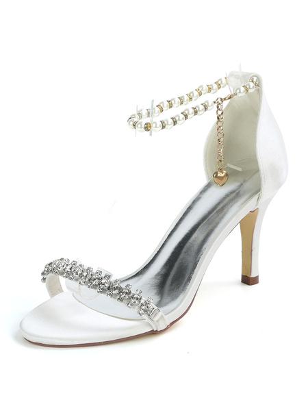 Milanoo Wedding Shoes Deep Purple Satin Rhinestones Open Toe Stiletto Heel Bridal Shoes