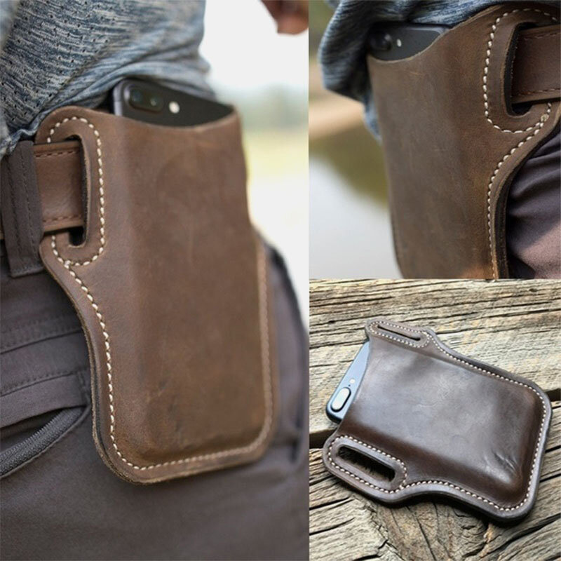 Men Genuine Leather 7.2 Inch EDC Retro Short Cell Phone Case Belt Bag