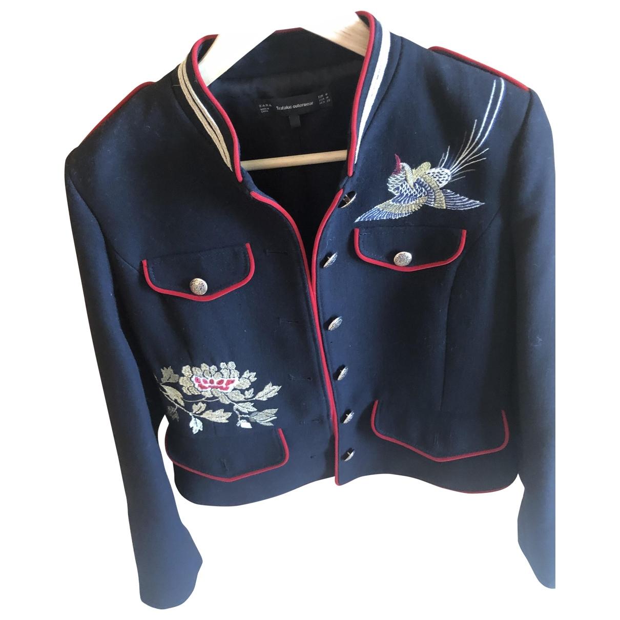 Zara - Veste   pour femme en laine - marine