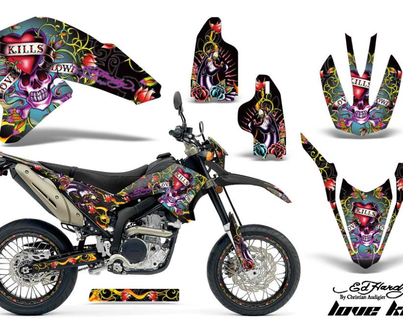 AMR Racing Graphics MX-NP-YAM-WR250R-WR250X-07-16-EDHLK K Kit Decals Sticker Wrap + # Plates For Yamaha WR250R WR250X 2007-2016áEDHLK BLACK