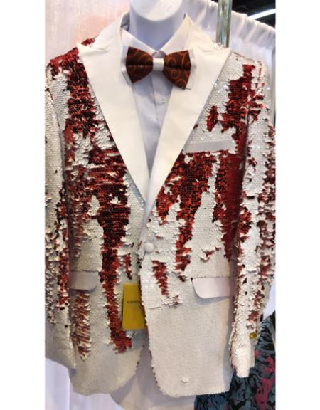 White and Red Sequin Blazer Sport Coat Tuxedo Dinner Jacket