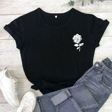 Grosse Grossen - T-Shirt mit Rose Muster und kurzen Ärmeln