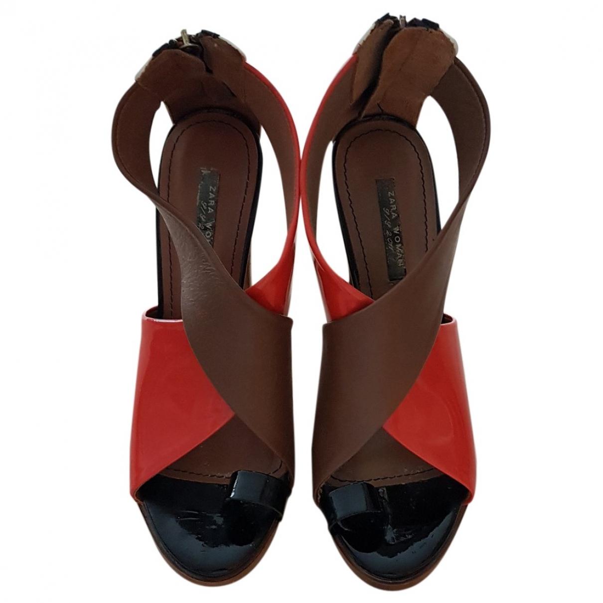 Zara \N Multicolour Patent leather Sandals for Women 38 EU