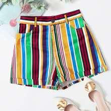 Shorts mit Farbblock, Streifen und Manschetten