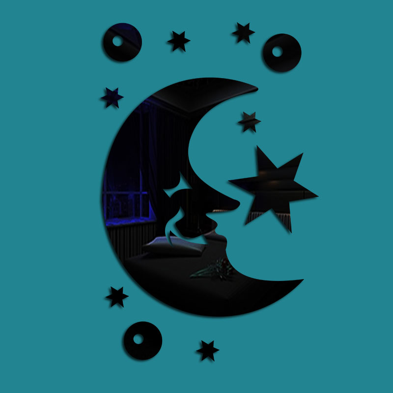 Moon And Star Pattern 3 Color 3D Acrylic TV And Sofa Background Wall Stickers