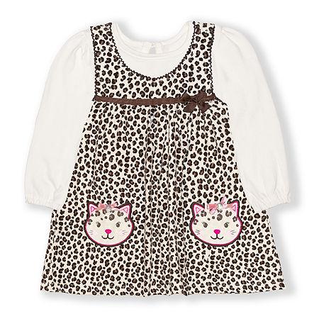 Nannette Baby Girls Long Sleeve Dress Set, 24 Months , Beige