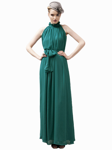 Milanoo Vestido largo caqui  Moda Mujer Color liso sin mangas Vestidos de chifon con faja con escote alto Verano para fiesta