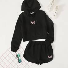 Kapuze mit Schmetterling Stickereien & Track Shorts Set