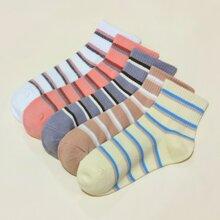 5 Paare Socken mit Streifen