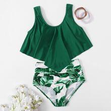 Bañador bikini fruncido bajo hanky tropical