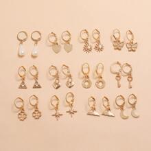 12 Paare Ohrringe mit Herzen & Schmetterling Dekor