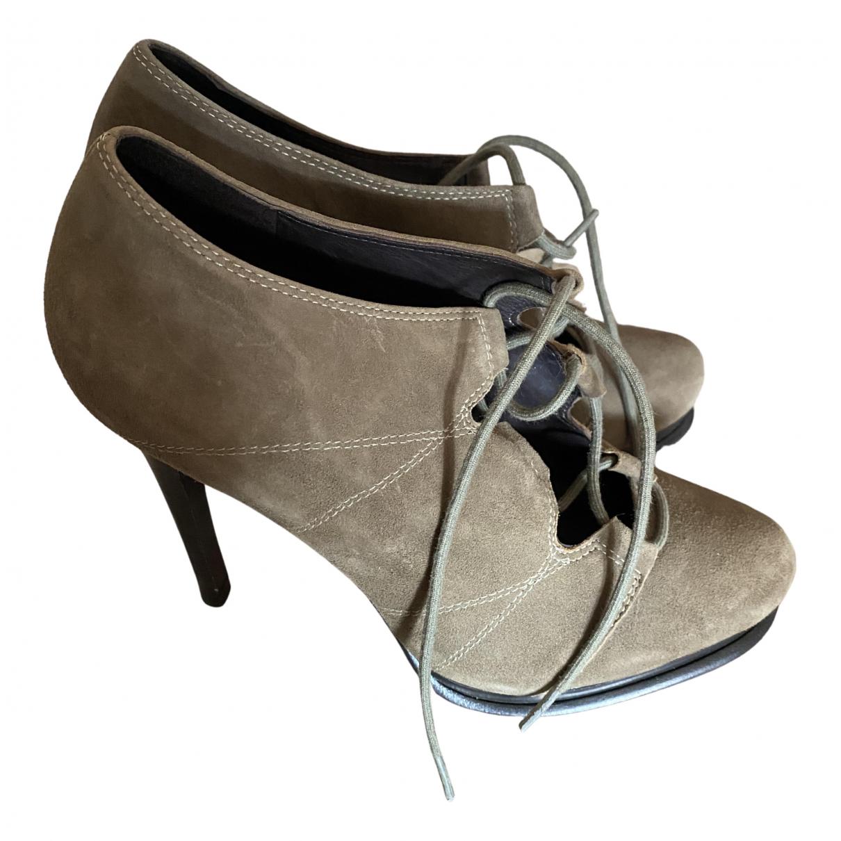 Diane Von Furstenberg \N Stiefel in  Khaki Veloursleder
