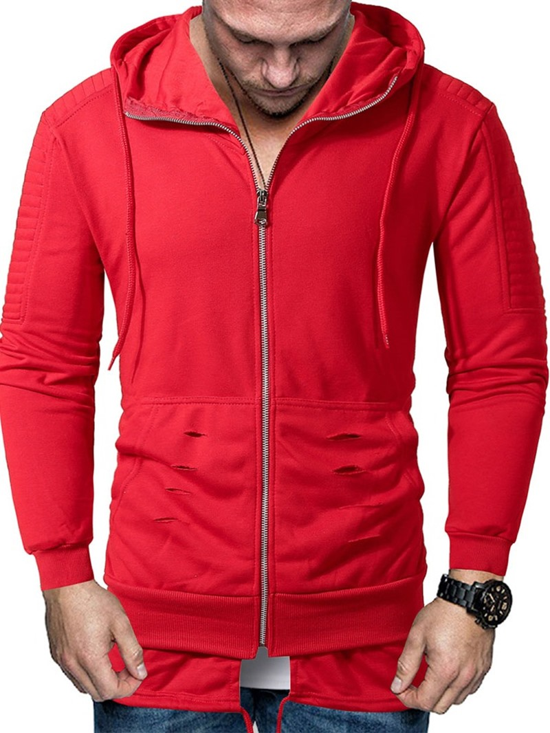 Ericdress Pullover Zipper Plain Men's Hoodies