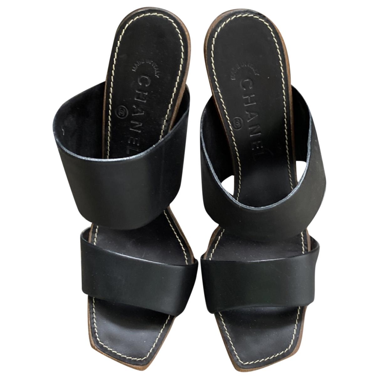 Chanel - Sandales   pour femme en cuir - marron