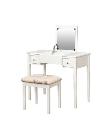 98135WHTX-01-KD-U Vanity and Stool Set with Flip Top Mirror  Safety Stay Hinge  Rubberwood Frame and Polyester Upholstery in