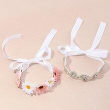 2 piezas diadema de niñitas con diseño de flor