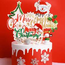 4pcs Christmas Decorative Cake Topper Set