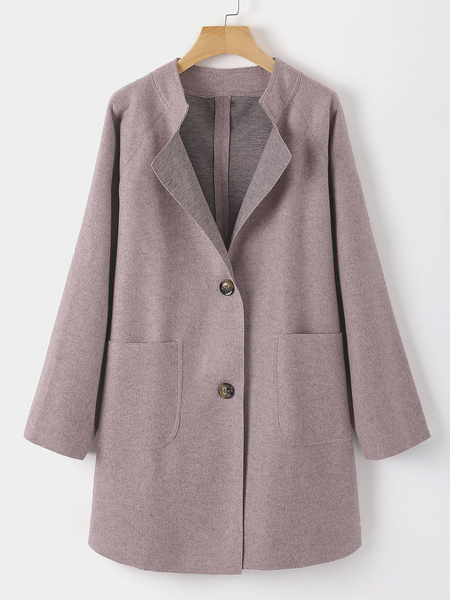 Yoins Plus Size Pink Button Front Stand Collar Long Sleeves Coat