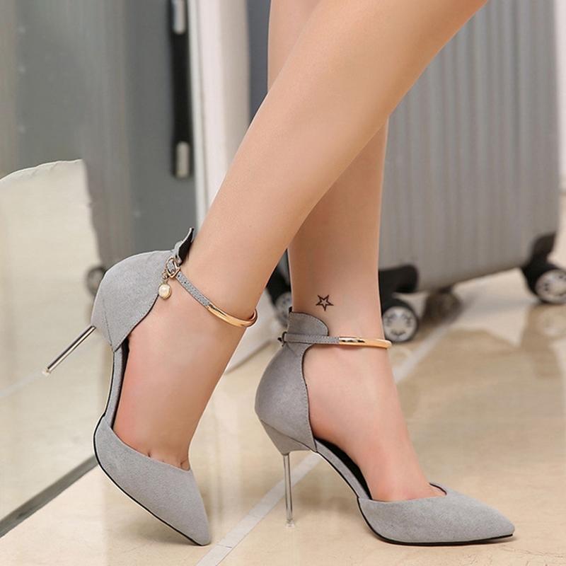 Ericdress Women's Stiletto Heel Buckle Pointed Toe PU Wedding Shoes