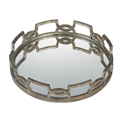 114-89 Hucknall Mirrored Tray  In Mccomish Bronze With Iron Scrollwork
