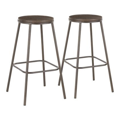 Clara Collection B30-CLRARNANE2 Set of 2 Bar Stools with Built-In Footrest  Industrial Style  Stationary Backless Design  Distressed Wood Round Seat