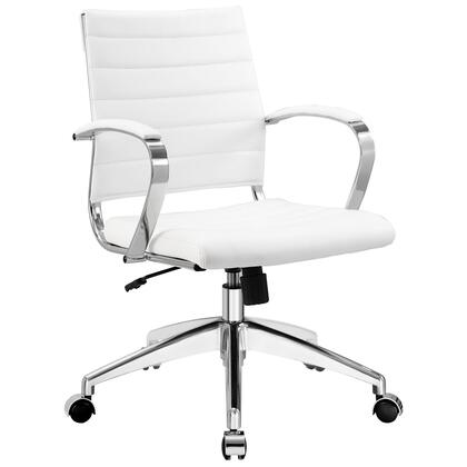 Jive Collection EEI-273-WHI Office Chair with 5-Caster Dual Wheel Base  Padded Arms  Chrome-Plated Aluminum Frame  Tilt Lock Tension Control