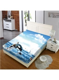 Cute Jumping Dolphins Reactive Printing 1-Piece Polyester Bed Cover / Mattress Cover