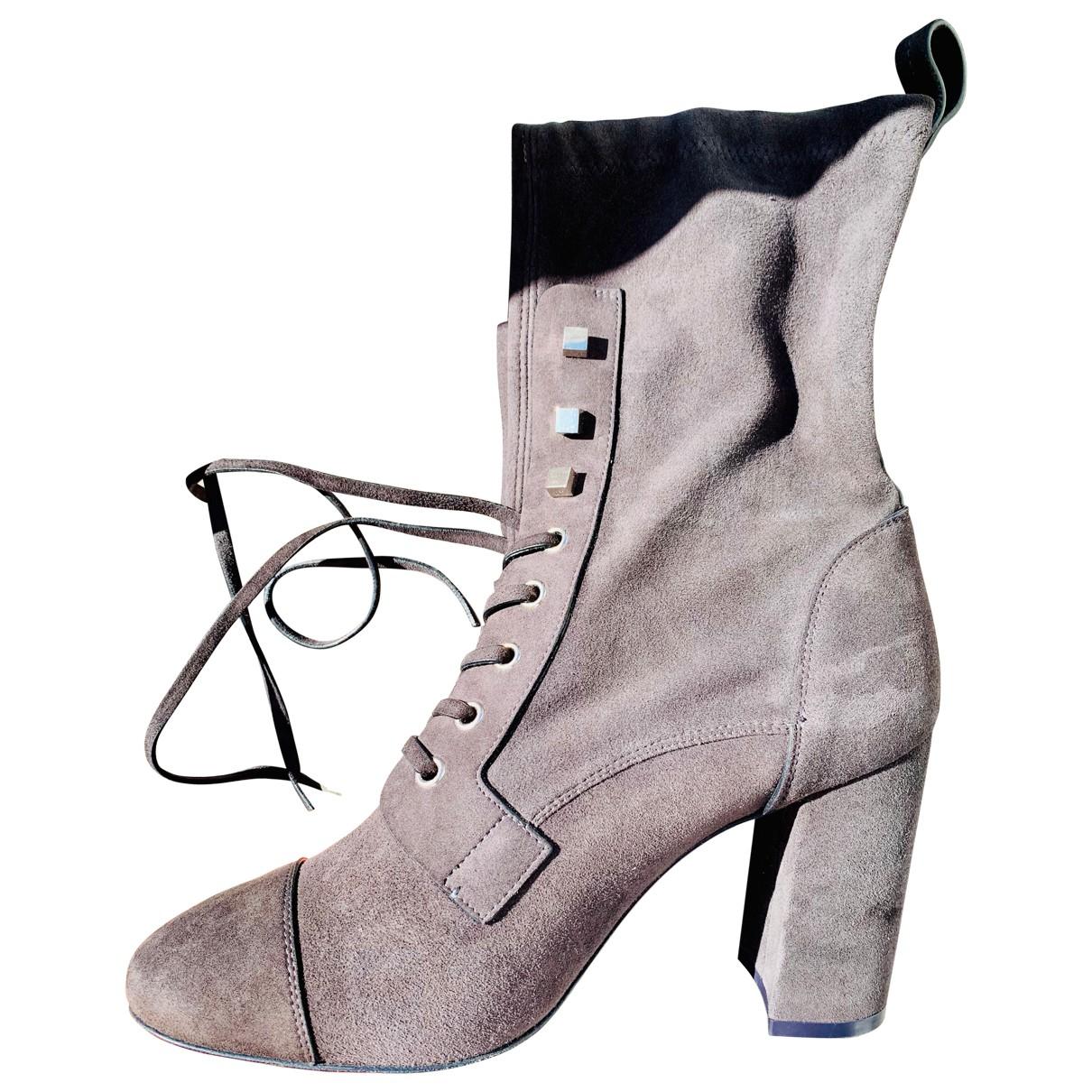 Stuart Weitzman - Boots   pour femme en suede - anthracite