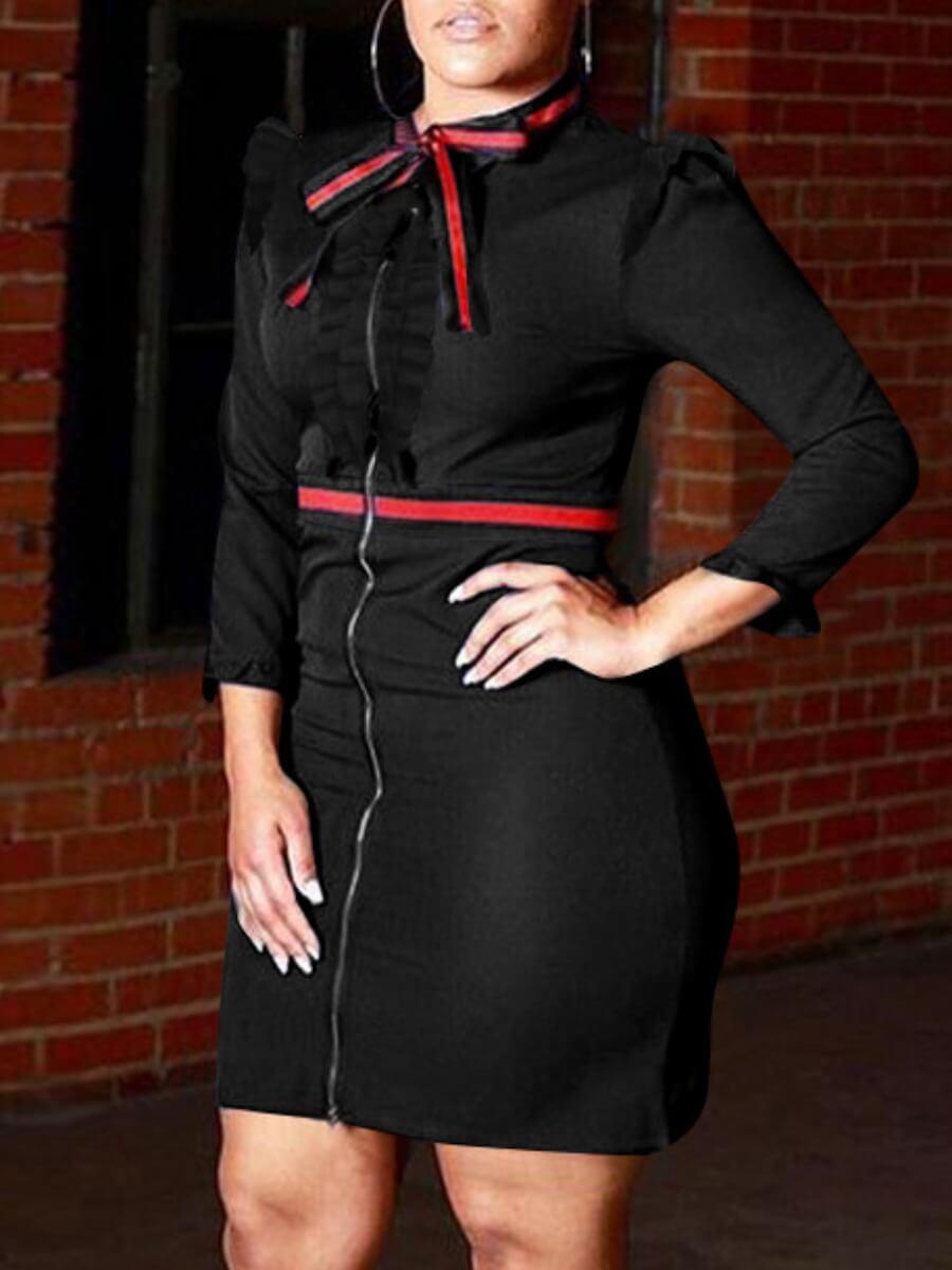LW Lovely Trendy O Neck Zipper Design Patchwork Black Knee Length Dress